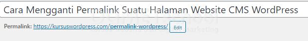 Cara Mengganti Permalink Suatu Halaman Website CMS WordPress